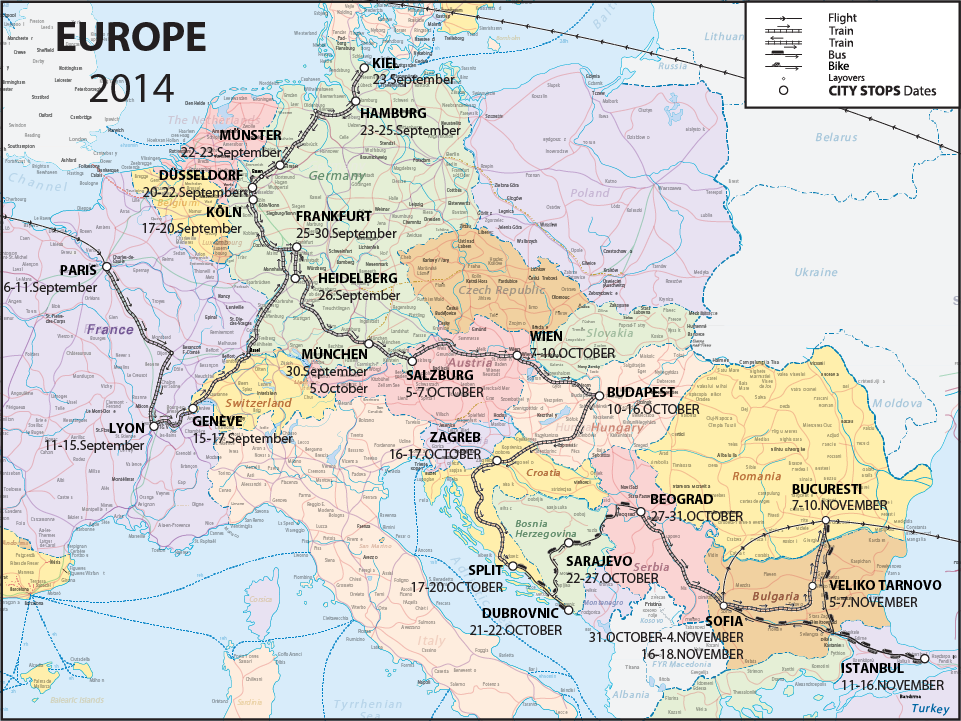 Taken From The Eurail Pdf Map, Broken Apart, And Created Custom Line Types